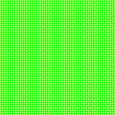 Repeated braiding of horizontal and vertical stripes creates a 3-D basket weave pattern with a lime green background & lighter green strands.