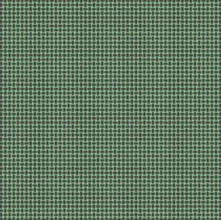 Braiding of horizontal and vertical stripes creates a basket weave pattern with green background, gray strands, and a stucco type texture. Stock Photo