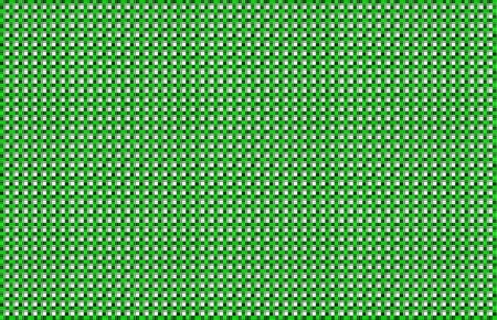 Repeated braiding of horizontal and vertical stripes creates a basket weave pattern with a white background & green strands of various widths.