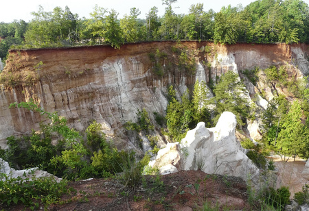 Providence Canyon State Park, Lumpkin, Georgia, known as the Little Grand Canyon, is an area of erosion caused by bad farming practices in the 1800s. Banco de Imagens