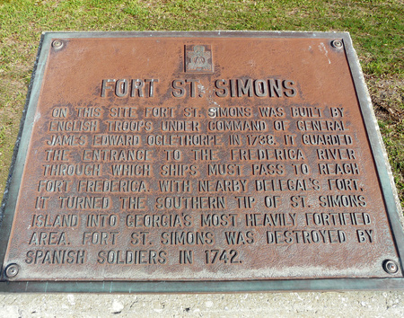 ST. SIMONS ISLAND, GEORGIA-OCTOBER 16, 2017: This plaque details the history of a destroyed fort that was built by General James Oglethorpe to guard the Frederica River entrance from Spanish attack.