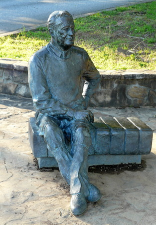 WARM SPRINGS, GEORGIA-JUNE 5, 2018: This sculpture of Franklin Delano Roosevelt is in the FDR State Park at Dowdells Knob, a favorite Pine Mountain overlook of the 32nd president of the United States Editorial