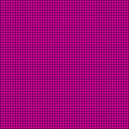 Repeated braiding of horizontal and vertical stripes creates a basket weave woven pattern in purple on pink background.
