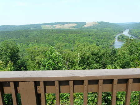 Roadside overlook at Sprewell Bluff Park near Thomaston, Georgia, provides a view of the free-flowing Flint River in soft background.