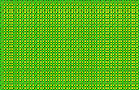 Repeated braiding of horizontal and vertical stripes creates a basket weave pattern in yellow and green, woven with strands of various widths.