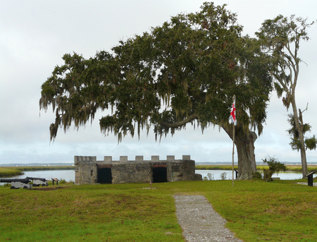 General Oglethorpes magazine, used to protect colonial Georgia from the Spanish, stands in ruins at Fort Frederica National Monument, St. Simons Island.