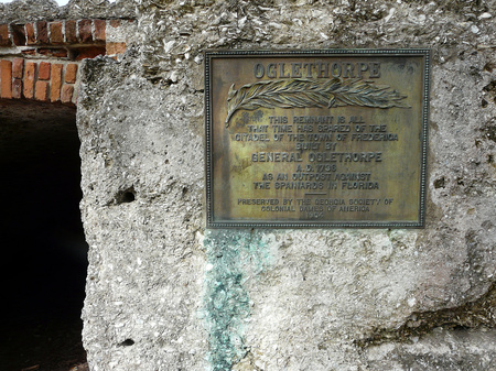 ST. SIMONS ISLAND, GEORGIA-OCTOBER 16, 2017: This plaque at Fort Frederica National Monument marks remains of the citadel at the town and fort built to guard against Spanish attack from Florida.