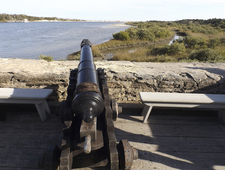 This cannon at the Spanish-constructed coquina stone fort helped guard the Matanzas Inlet in the 18th century near St. Augustine, Florida. Editorial