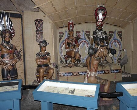 GAINESVILLE, FLORIDA-JUNE 23, 2019: This display at the Museum of Natural History depicts a welcoming ceremony hosted by the powerful Calusa Indians, who controlled south Florida into the late 1700s.
