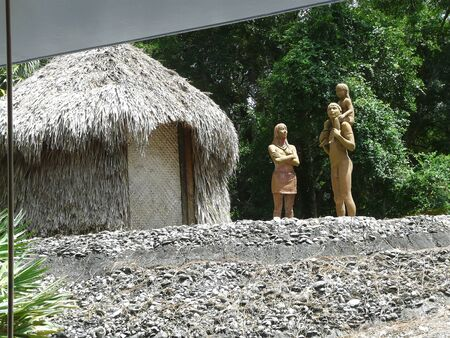 GAINESVILLE, FLORIDA-JUNE 23, 2019: This display at the Museum of Natural History represents the ancient and extinct Calusa Indian people, who controlled most of south Florida into the late 1700s.