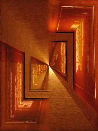 Rendered from a photograph of a wall of quotations in gold script, this abstract is reminiscent of a long hallway or tunnel.