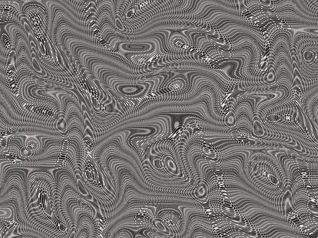 Abstract background of black, white, and gray random swirls, circles, and lines. A zigzag effect and illusion of webbing or netting provide texture and movement.