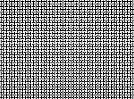This grid background in black and white is formed by nearly intersecting vertical and horizontal jagged bars filled with random dots, lines, and small rectangles.