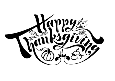 A painted inscription for the autumn holiday of a happy Thanksgiving day handwritten text of calligraphy for a greeting card, badge  in vector format.