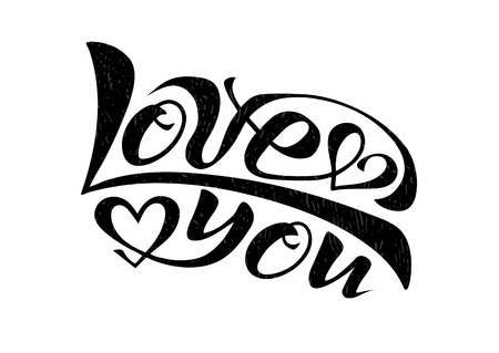 Handwritten text Love you vector