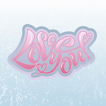 Vector illustration of I love you. Handwritten text for postcards, posters, Valentines, logos or prints. Lettering, calligraphy, lettering image on Colored background. EPS 10