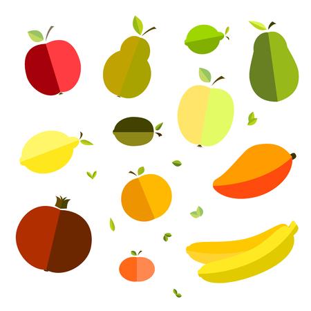 Stock Vector Graphics World Health Day fruit, apple, banana, pear, mandarin orange, avocado, pomegranate, kiwi, mango, green apple, red apple, lemon, lime. Composition, vector illustration of healthy food, nutrition