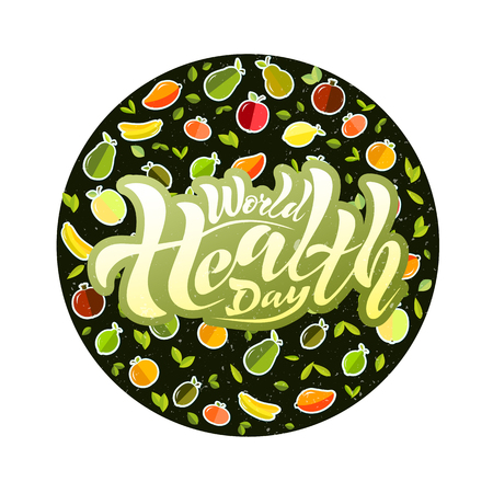 Stock Vector Graphics handwritten text, lettering World Health Day on a background with a texture. a glass for juice, juice, a tube, fruit. For a postcard, logotype, banner, label. Apple, banana, pear, mandarin, orange, avocado, pomegranate, kiwi, mango, green apple, red apple, lemon, lime.