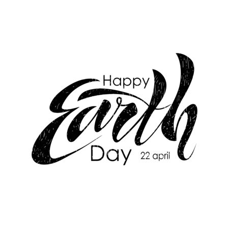 Beautiful handwritten text, calligraphy, lettering Happy Earth Day on April 22 on a white background. Vector illustration for greeting card, poster, logo, banner. Color, black. EPS10.