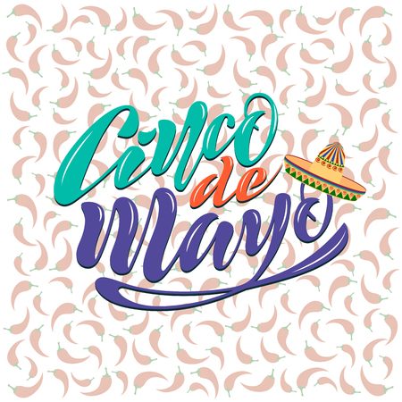 Handwritten text on a textured background for the holiday cinco de mayo on May 5 for a banner, logo, postcard, menu. Mexico, musical instruments, maracas, hats, sombrero, guitar, chili, mustache, colorful. vector eps10