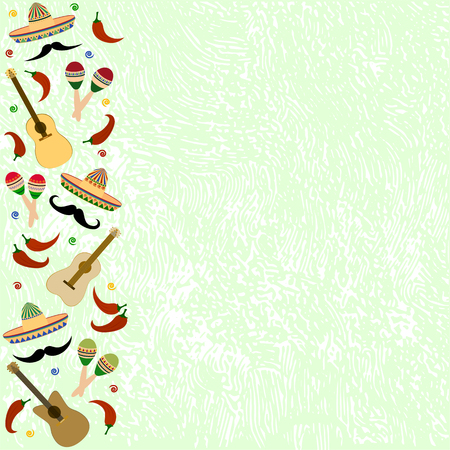Beautiful textured background for the holiday cinco de mayo on May 5, for a banner, postcards, menu. Mexico, musical instruments, maracas, hats, sombrero, guitar, chili, mustache, colorful. vector Place for your text.