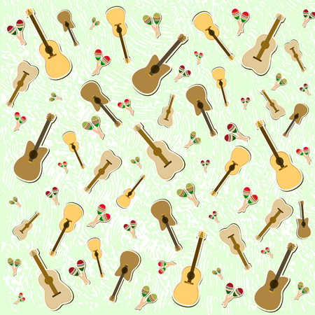 Beautiful textured background for the holiday cinco de mayo banner, logo, postcard, menu. Mexico, musical instruments, maracas, hats, sombrero, guitar, chili, mustache, cactus, colorful. vector eps10. Ilustrace
