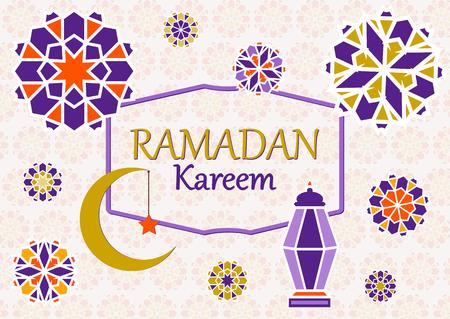 Vector illustration of text, inscription Ramadan Kareem banner, postcard with Islamic geometric patterns, moon, star, frame.
