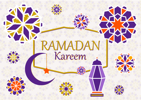 Vector illustration of text, inscription Ramadan Kareem banner, postcard with Islamic geometric patterns, moon, star, frame.
