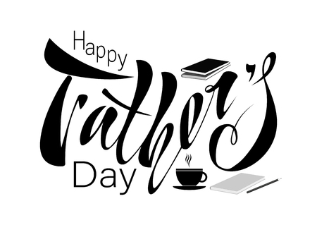 Beautiful handwritten text Happy Father's Day for greeting card, congratulations, gift wrapping, sticker. Vector illustration with objects book, pencil, hat, mustache