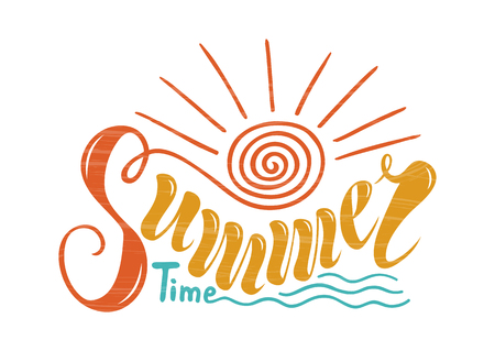 Beautiful handwritten text summer time. Vector illustration on a background of textured objects of solar, marine, wave. For postcards, advertisements, posters, banners, ornaments