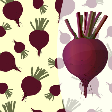 Bright background and one detailed beets on a transparent basis
