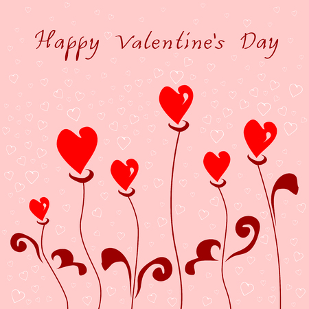Romantic greeting card with happy Valentine day on the pale pink background with small hearts outline Ilustracja