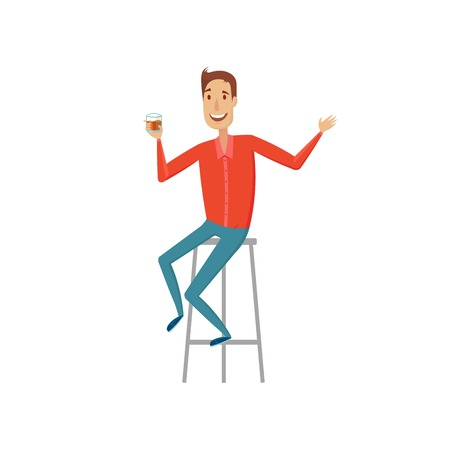 The man at the bar. Vector illustration on a white background. Çizim