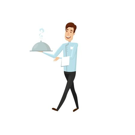 A waiter with a hot dish in the restaurant. Vector illustration on a white background. Illustration