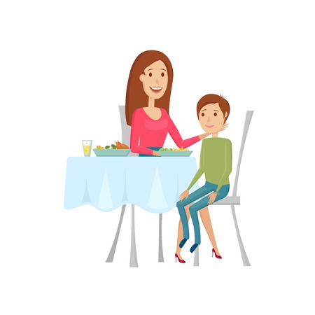 pareja comiendo: La gente en el restaurante para la cena. Ilustración plana y de dibujos animados style.Vector sobre un fondo blanco. Vectores