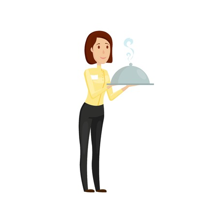 A waiter with a hot dish in the restaurant. Flat and cartoon style. Vector illustration on a white background.