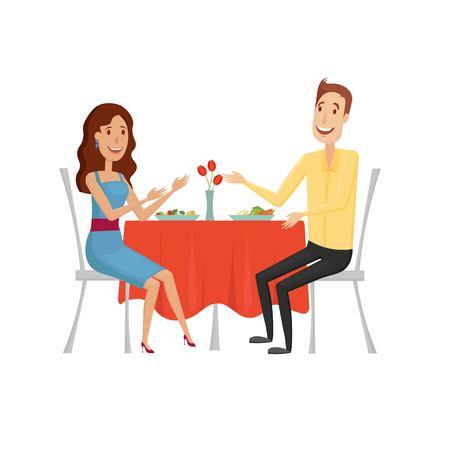 La gente en el restaurante para la cena. Ilustración plana y de dibujos animados style.Vector sobre un fondo blanco. Vectores