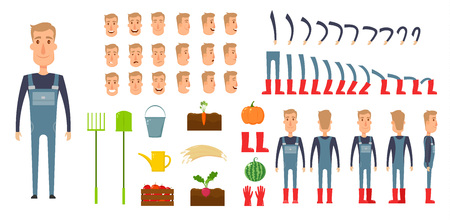 Farmer character creation set. Icons with different types of faces, emotions, clothes. Front, side, back view male person. Moving arms, legs. Chair. Board. Flat and cartoon style. Vector illustration.