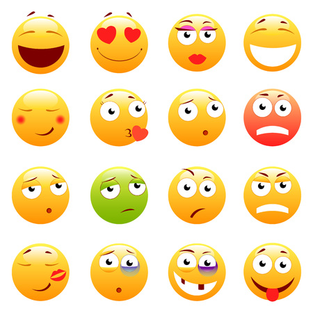 smiley: Set of 3d cute Emoticons. Emoji and Smile icons. Isolated on white background. vector illustration.