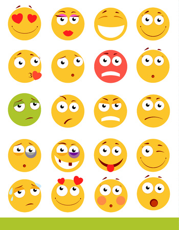Set of cute Emoticons. Emoji and Smile icons. Isolated on white background. vector illustration.