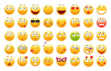 Set of 3d cute Emoticons. Emoji and Smile icons. Isolated on white background. vector illustration.
