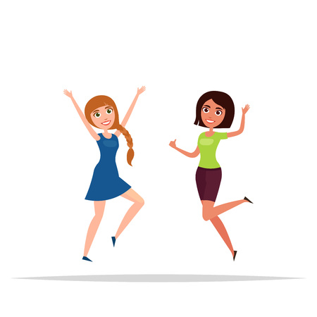 Happy group of girls jumping. White . The concept of friendship, healthy lifestyle, success. illustration in a flat and cartoon style.