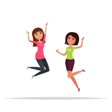 group fitness: Happy group of girls jumping. White . The concept of friendship, healthy lifestyle, success. illustration in a flat and cartoon style.