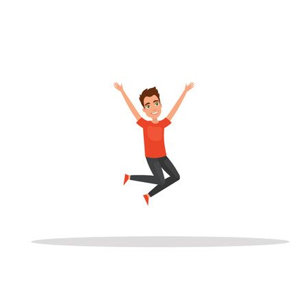 Happy man jumping on a white background. The concept of healthy lifestyle, success. Vector illustration in a flat and cartoon style.For your web design