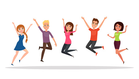 Happy group of people, boy, girl jumping on a white background. The concept of friendship, healthy lifestyle, success. Vector illustration in a flat and cartoon style.