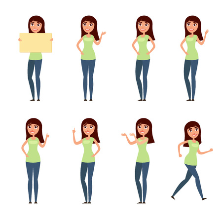 Set of woman, girl in casual clothes in different poses. A character for your design project. Vector illustration in flat and cartoon style.White background 일러스트