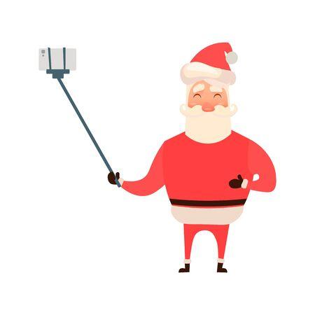 telephone cartoon: Cartoon style Santa Claus making selfie, Christmas vector greeting card. Full length portrait of Santa making selfie, greeting card template for Christmas event