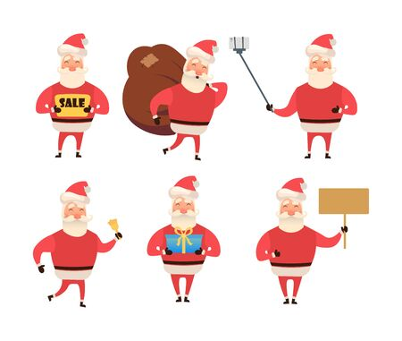 Collection of Christmas Santa Claus. Cartoon and flat style. Vector illustration. White background. For your web design