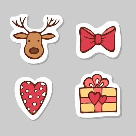 Set of head deer, ribbon, retro heart and gift box. Sticker set for your web design. Xmas holiday. Happy New Year