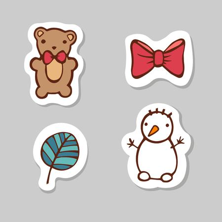 Set of bear, ribbon,leaf, snow man. Sticker set for your web design. Xmas holiday. Happy New Year Stock Photo